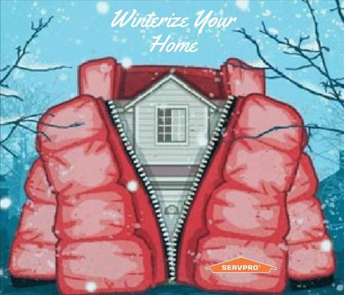 "Graphic says ""winterize your home"" and below in a house wearing a red coat"